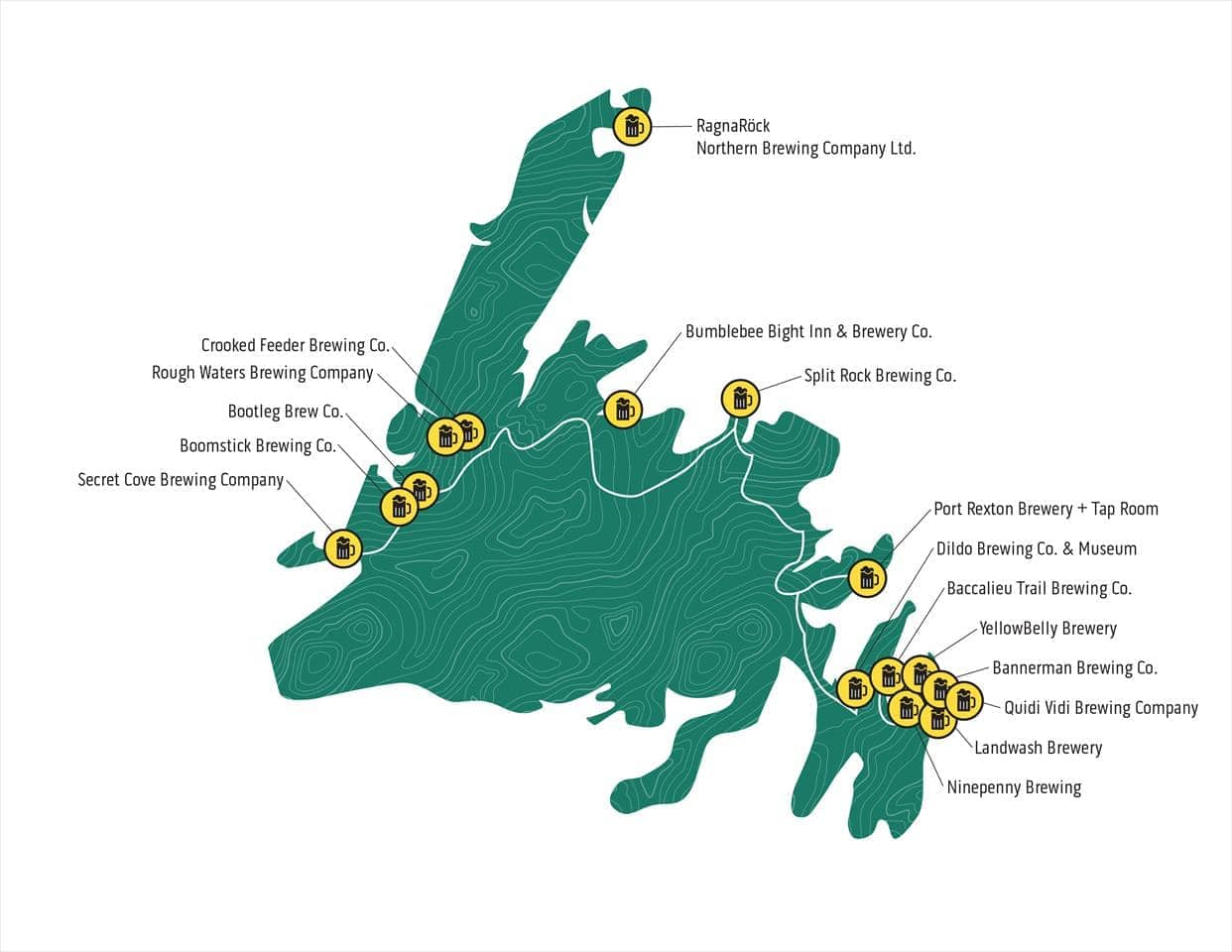 Map of craft breweries from around the island of Newfoundland
