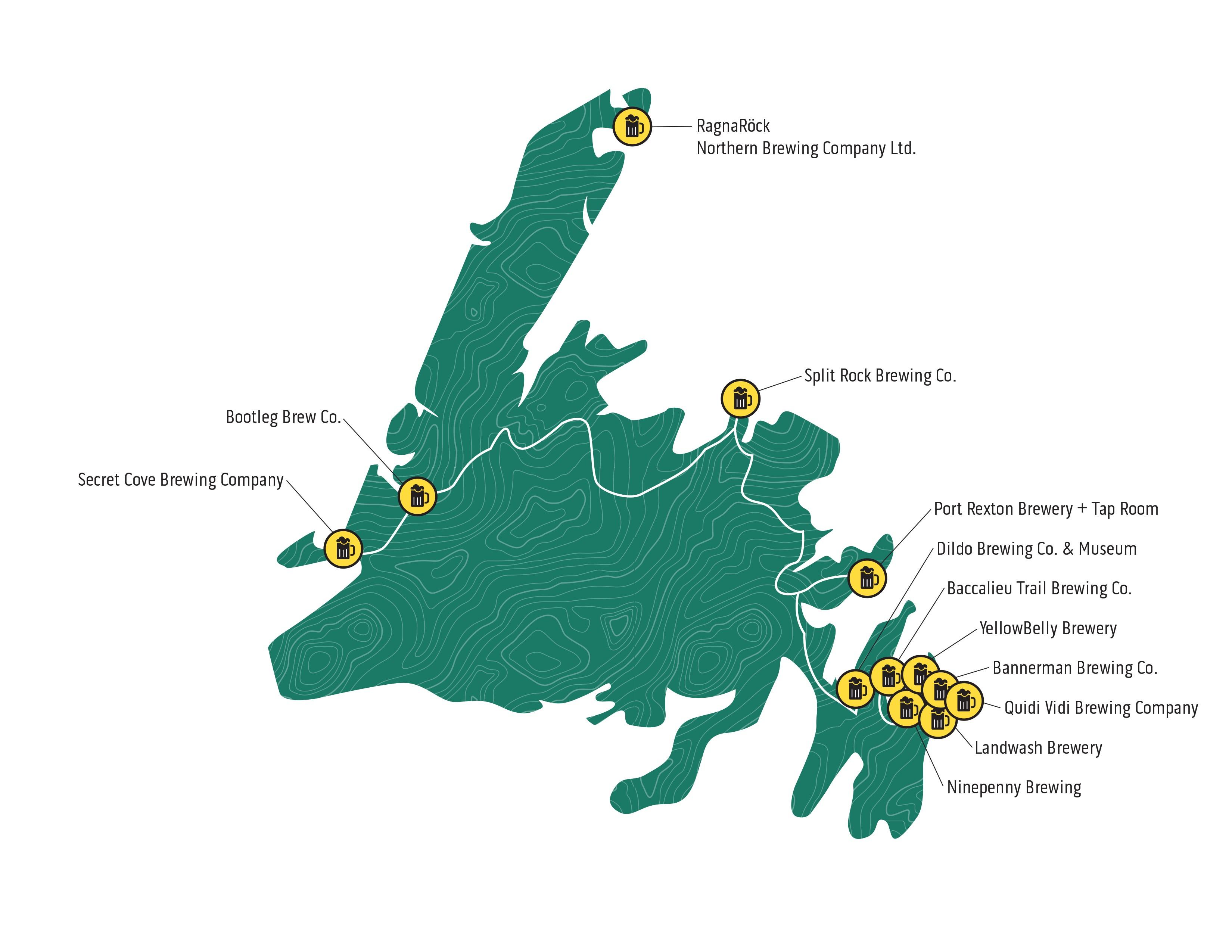 Newfoundland and Labrador Craft Beer Map