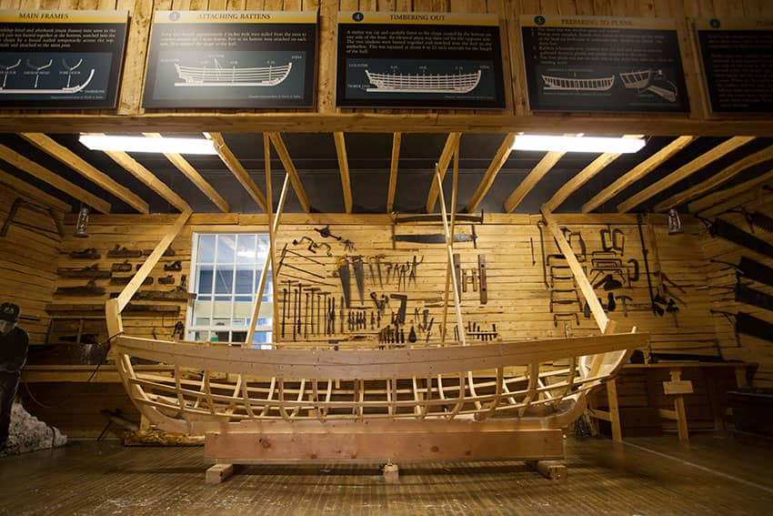 Different boat designs on display at the Wooden Boat Museum, Winterton NL