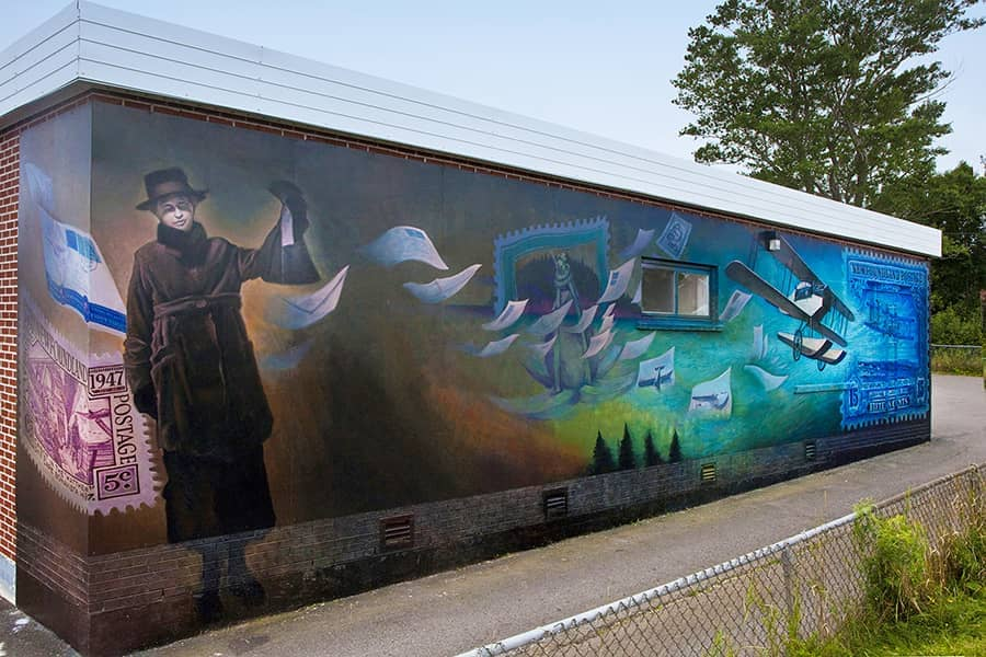 Twilight of Airmail mural in Botwood