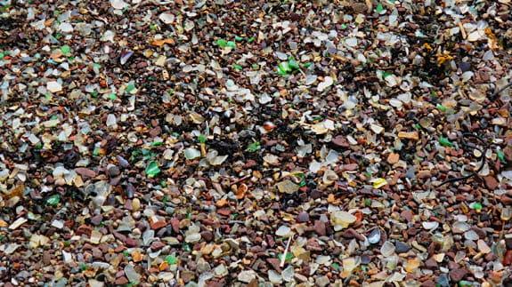 Glassy beach rocks