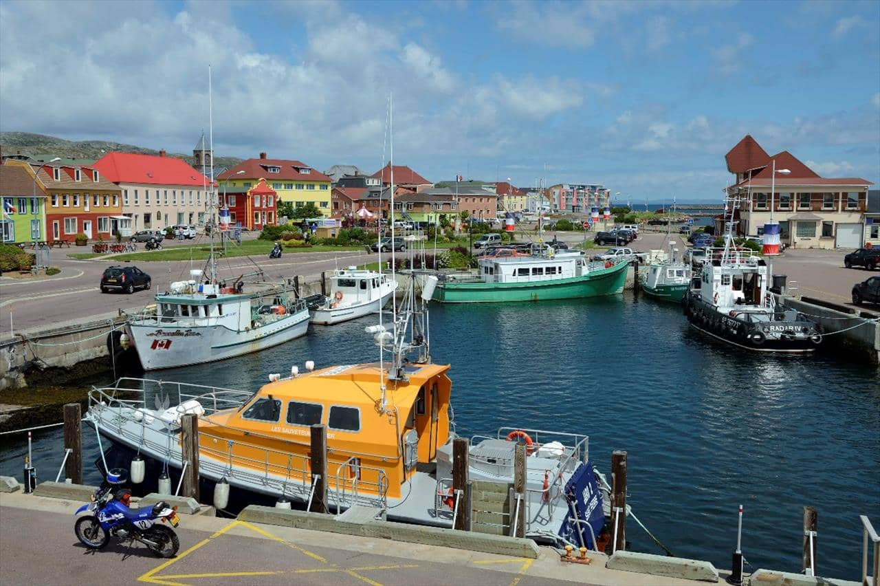 Colourful harbour scene in Saint Pierre and Miquelon