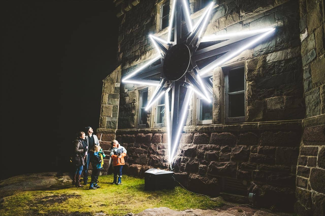A family at the Signal Hill star lighting in St. John's