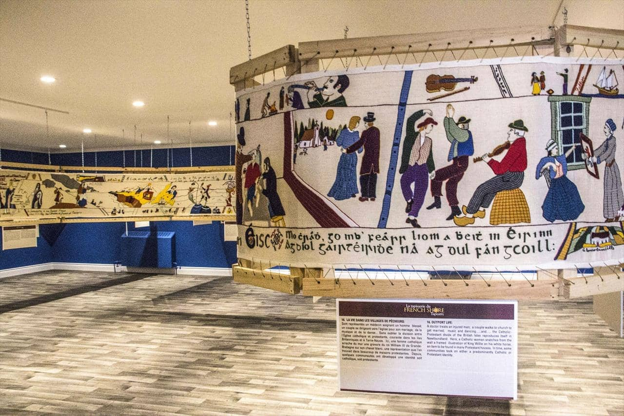 the French Shore Tapestry on display in Conche, Newfoundland and Labrador