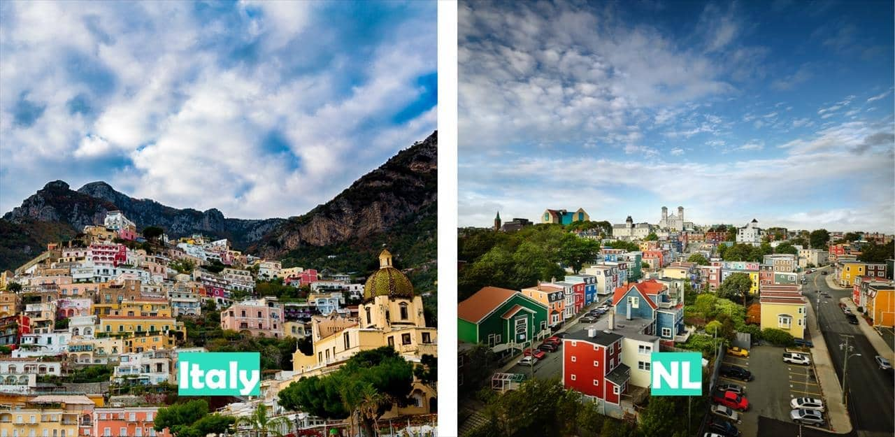 Italy (Positano pictured) vs Newfoundland & Labrador (St. John's pictured)