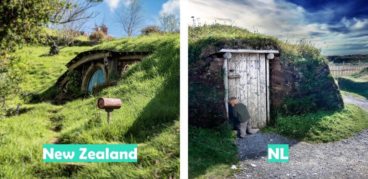 New Zealand (Hobbit houses pictured) vs Newfoundland (L'Anse Aux Meadows pictured)