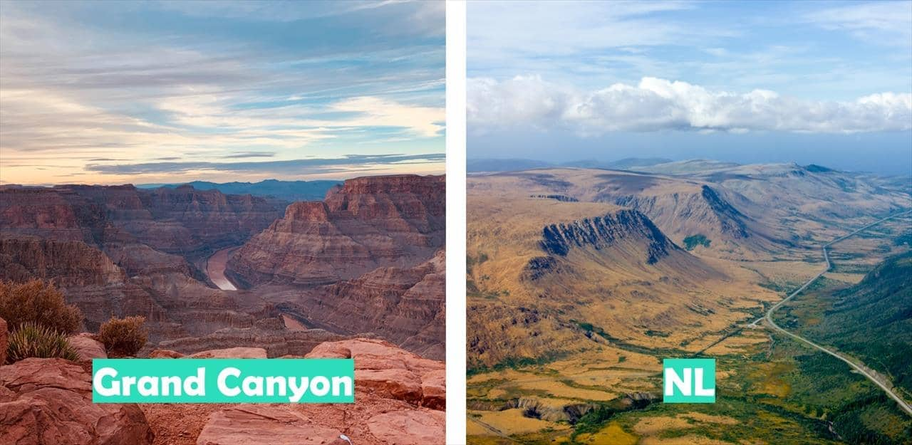 Grand Canyon vs Newfoundland & Labrador (Gros Morne National Park pictured)