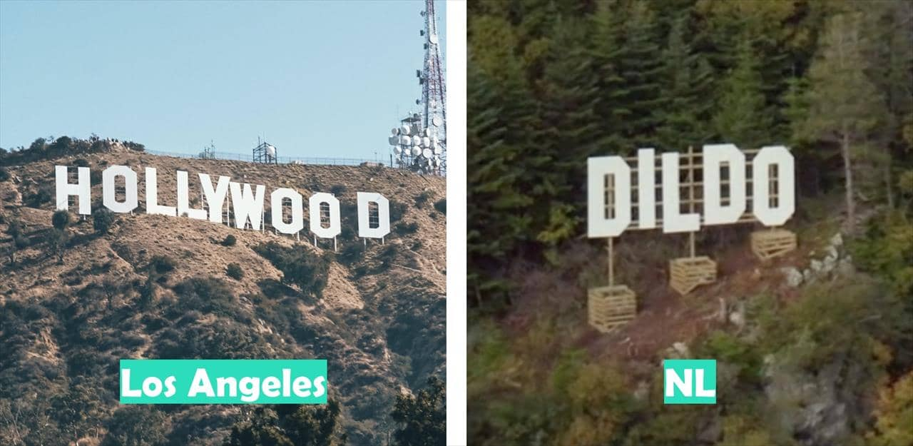 Los Angeles (Hollywood pictured) vs Newfoundland & Labrador (Dildo pictured)