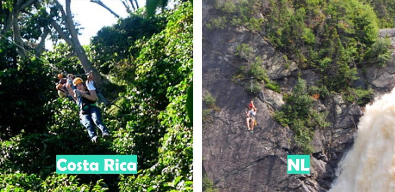 Costa Rica (Aventura Canopy Tours pictured) vs Newfoundland & Labrador (Marble Zipline Tours pictured)