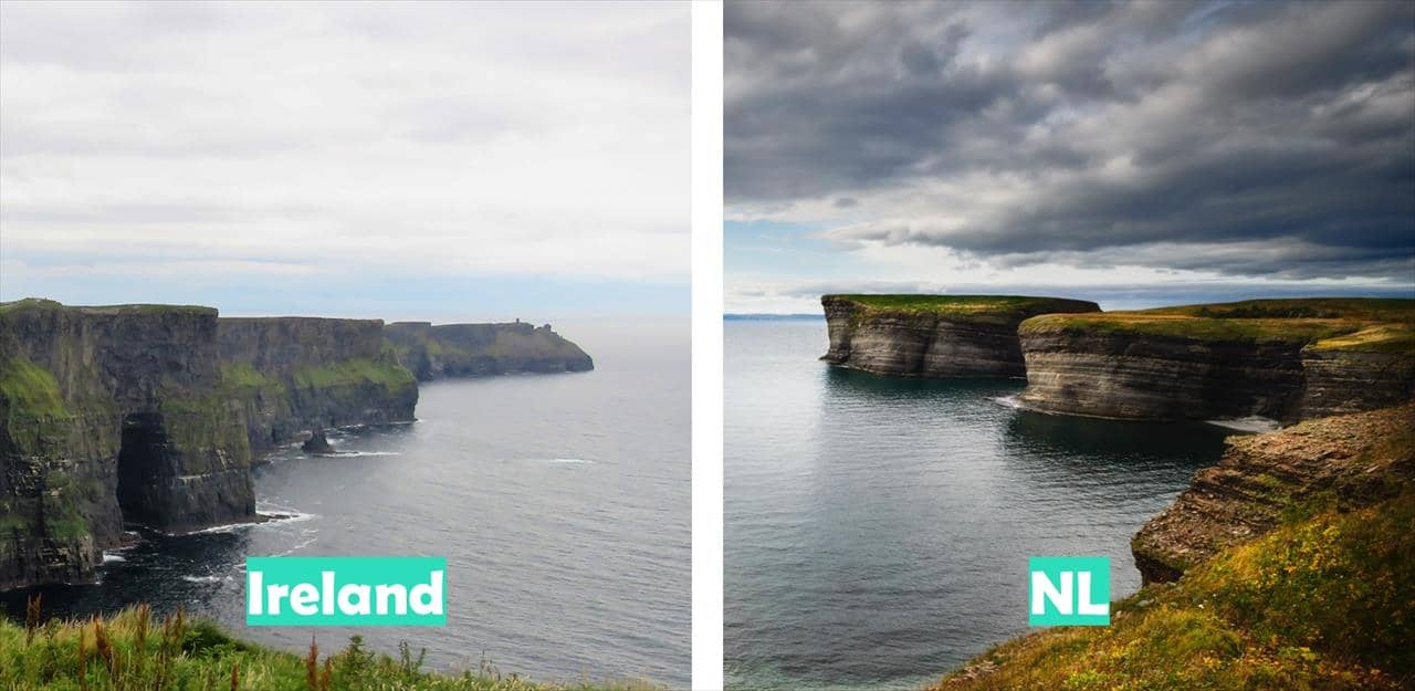 Ireland (Cliffs of Moher pictured) vs Newfoundland & Labrador (Bell Island pictured)