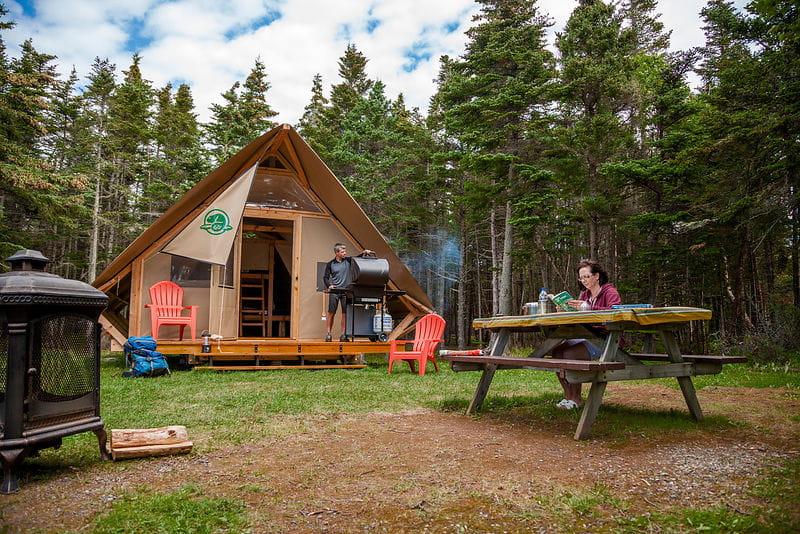 Terra Nova National Park. Otentik glamping tent.
