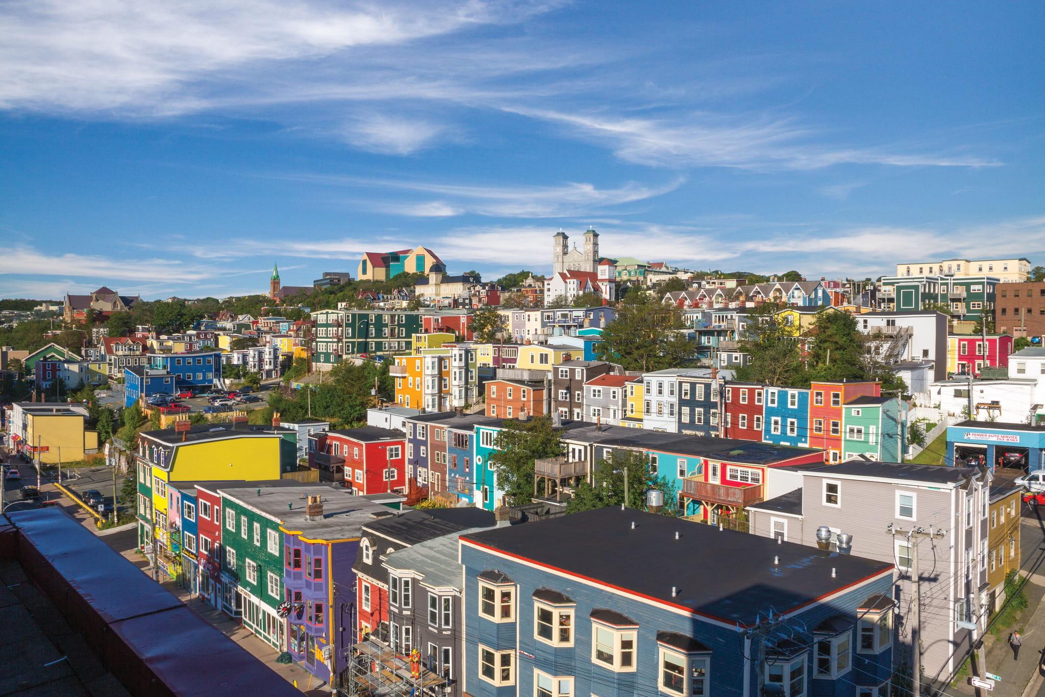 St. John's and its colourful houses. Jellybean Row